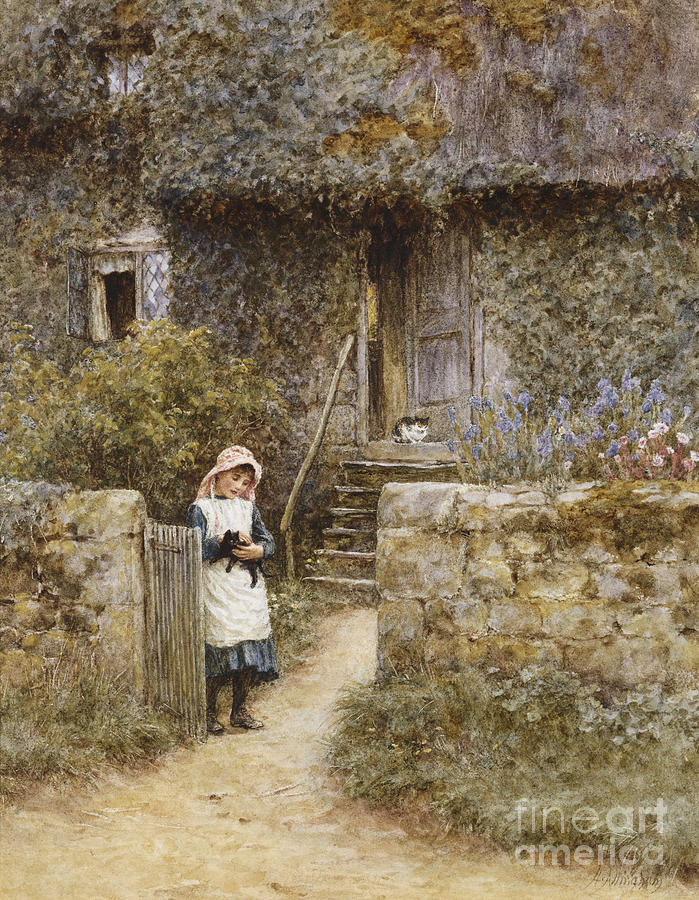 Cottage; English; Landscape; Rural; Girl; Child; C19th; C20th; Path; Bonnet; Kitten; Cat; Ivy; Creeper; Victorian Painting - The Garden Gate by Helen Allingham