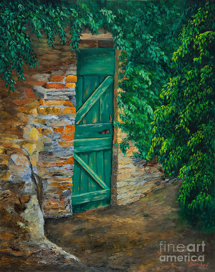 Cinque Terre Italy Art Painting - The Garden Gate In Cinque Terre by Charlotte Blanchard