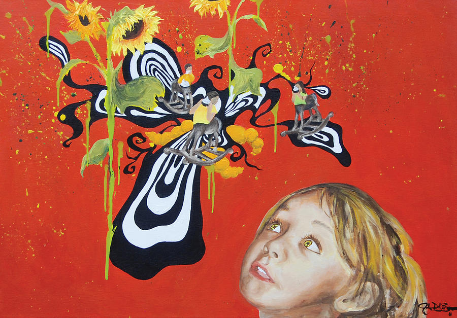 Lucy In The Sky With Diamonds Painting - The Girl With Kaleidoscope Eyes by Jacqueline DelBrocco