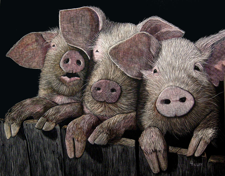 Pig Mixed Media - The Girls by Linda Hiller