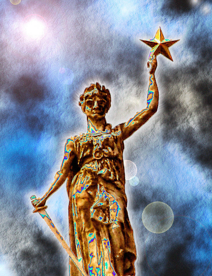 Texas Digital Art - The Goddess Of Liberty - Texas State Capitol by Wendy J St Christopher