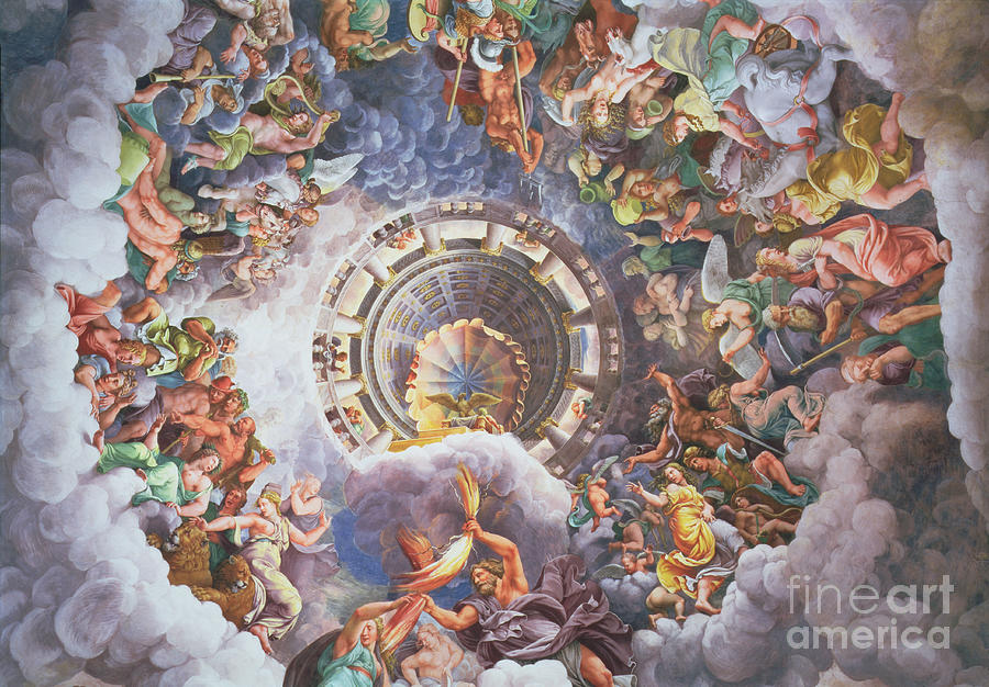 The Painting - The Gods Of Olympus by Giulio Romano
