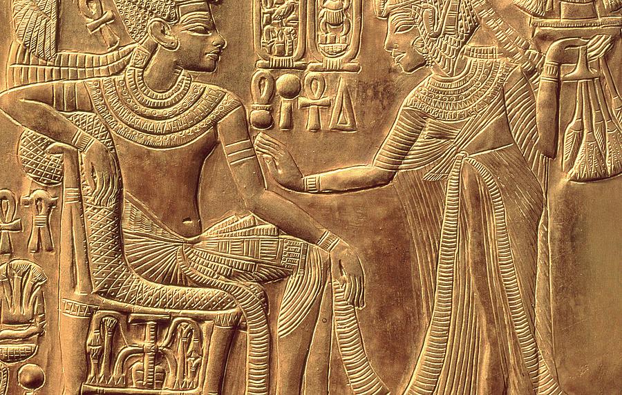 Detail Relief - The Golden Shrine Of Tutankhamun by Egyptian Dynasty