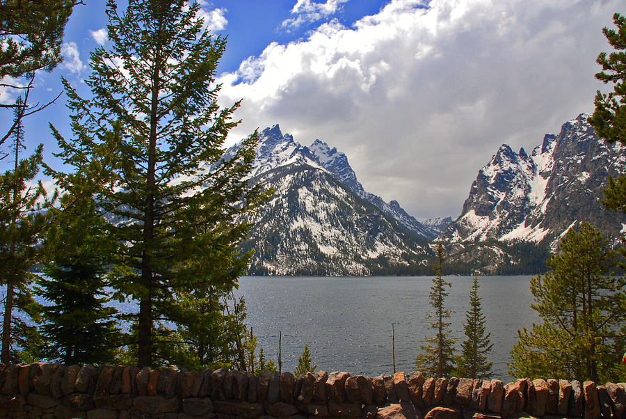 The Grand Tetons And The Lake Photograph