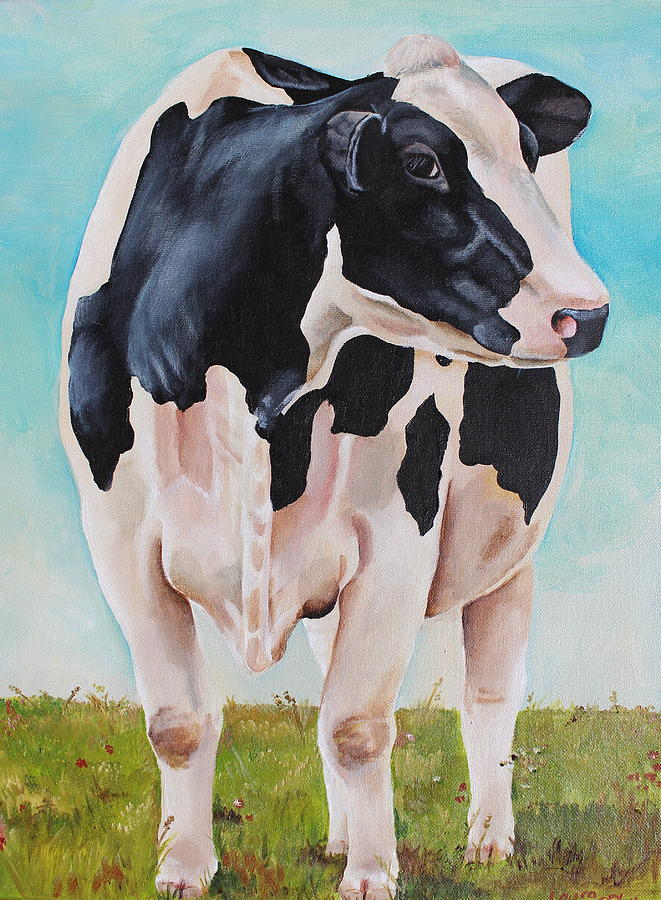 Cow Painting - The Grass Is Always Greener by Laura Carey