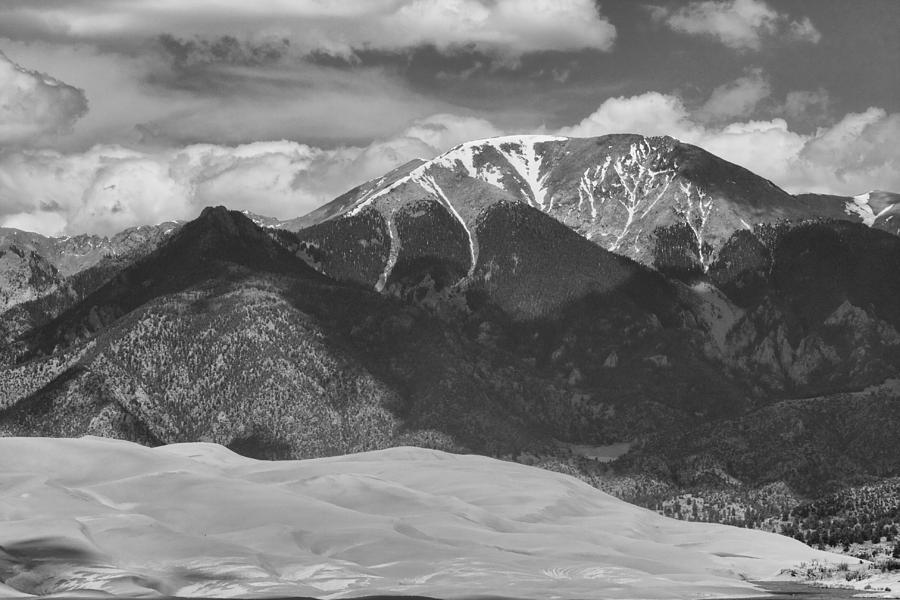 The Great Colorado Sand Dunes; Great Sand Dunes National Park And Preserve; Black And White Sand Dunes Prints; Black And White Sand Dunes Canvas Art; Colorado; Sand; Dunes; Nature Photography Prints; Landscape Photography Prints;   Photograph - The Great Colorado Sand Dunes  125 Black And White by James BO  Insogna