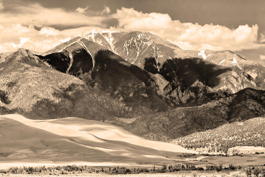 the Great Colorado Sand Dunes Photograph - The Great Colorado Sand Dunes In Sepia by James BO  Insogna