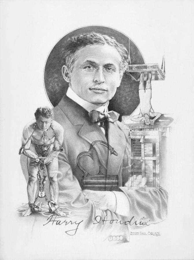 Harry Houdini Drawing - The Great Houdini by Steven Paul Carlson