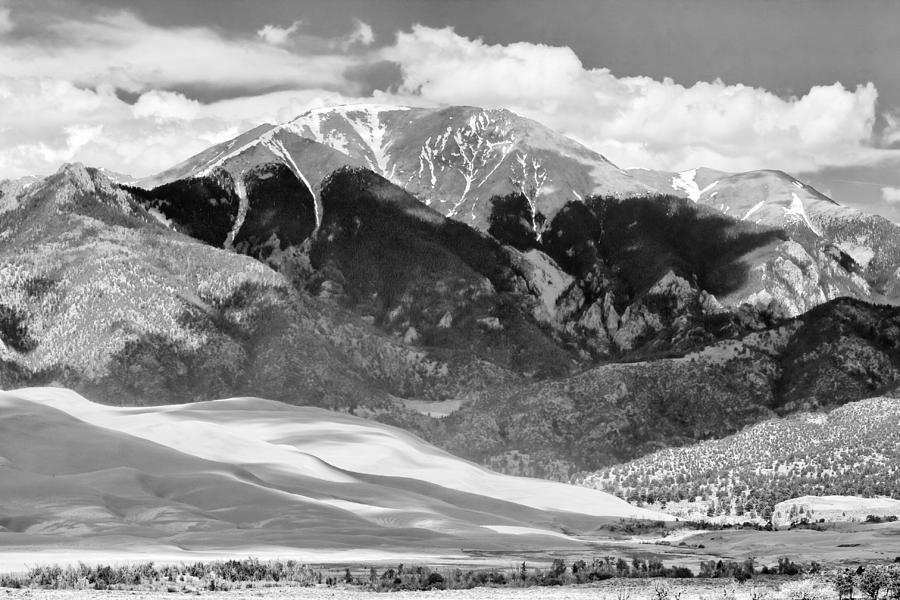 The Great Sand Dune Valley Bw Photograph
