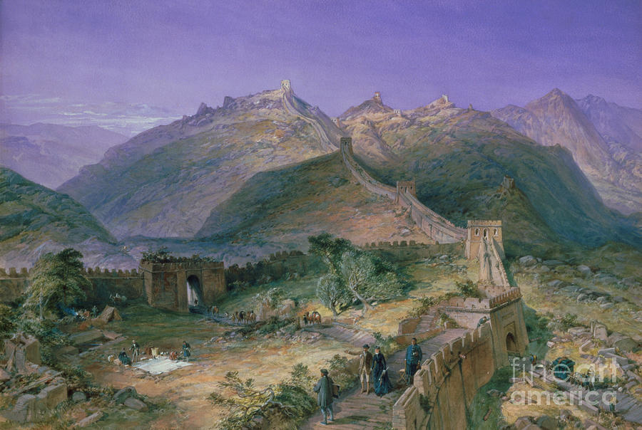 Landscape; Changcheng; Tourist; Tourists; Picnic; Chinese; European; Female; Male; Viewing; Visiting; Tour Painting - The Great Wall Of China by William Simpson