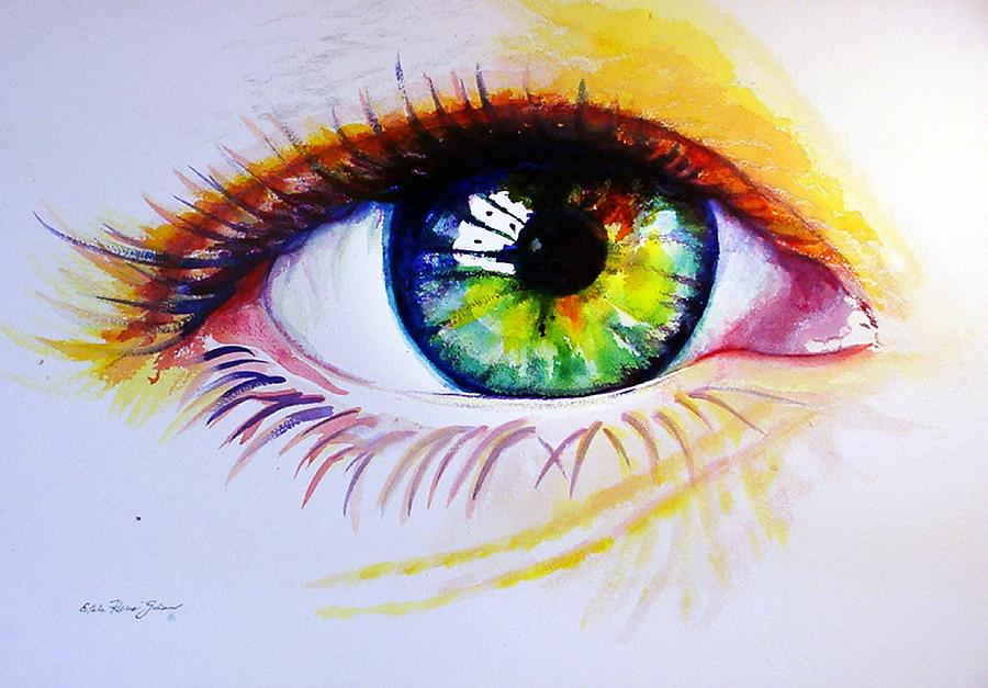 Watercolor Painting - The Green Eye by Estela Robles
