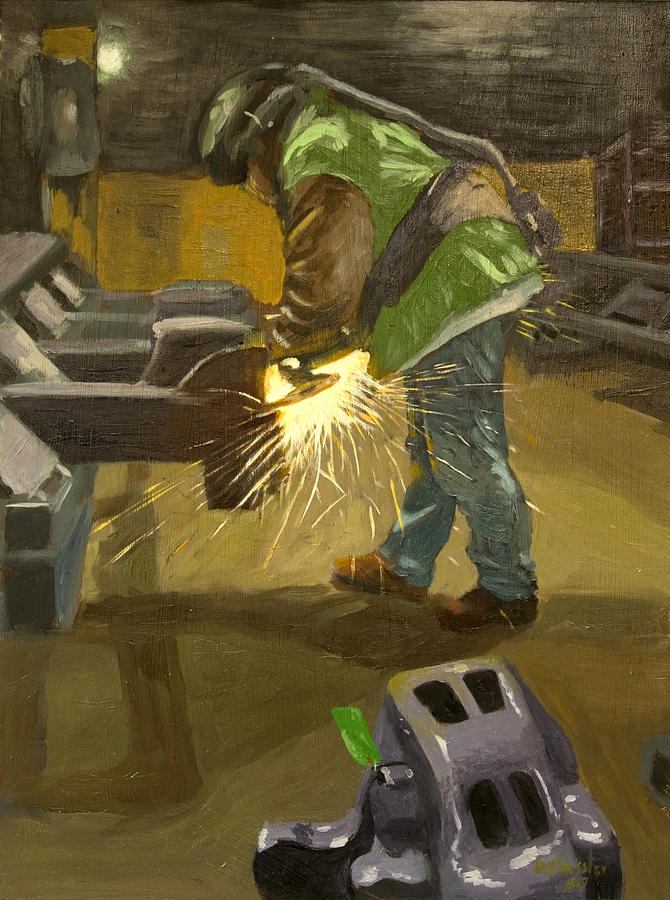 Industrial Painting - The Grinder by Martha Ressler