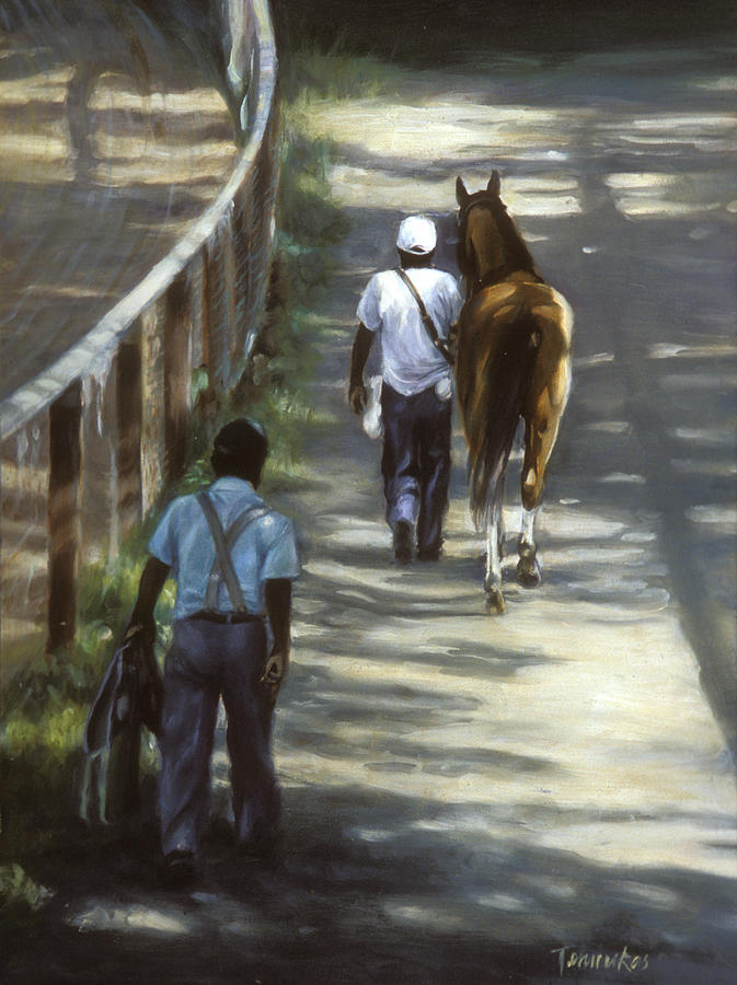 Horse Painting - The Grooms by Linda Tenukas