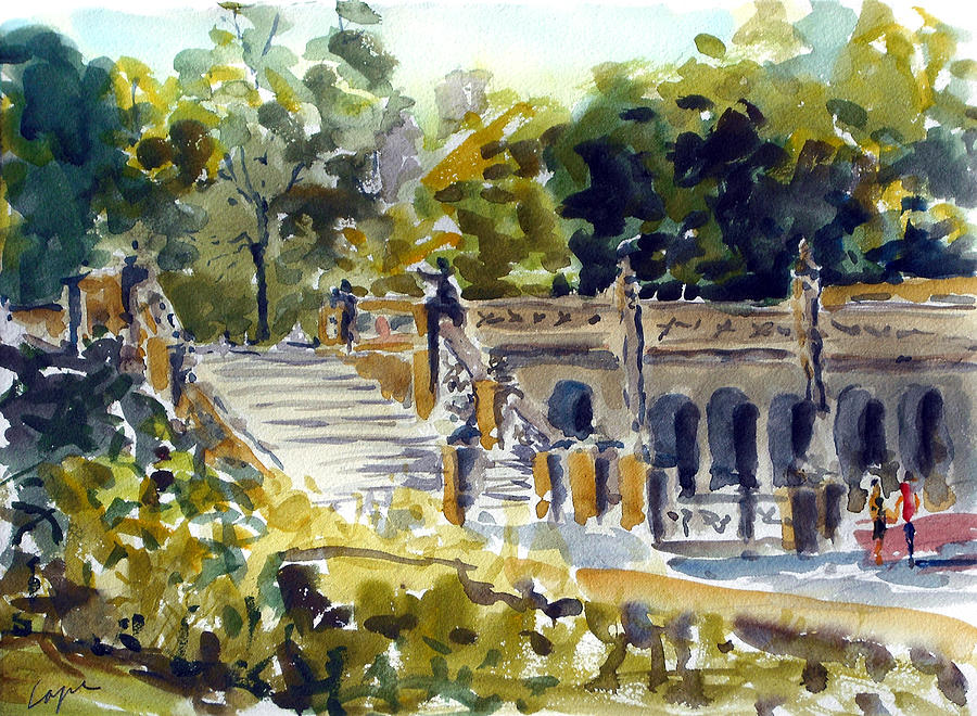 Bethesda Fountain Painting - The Grotto Steps by Chris Coyne