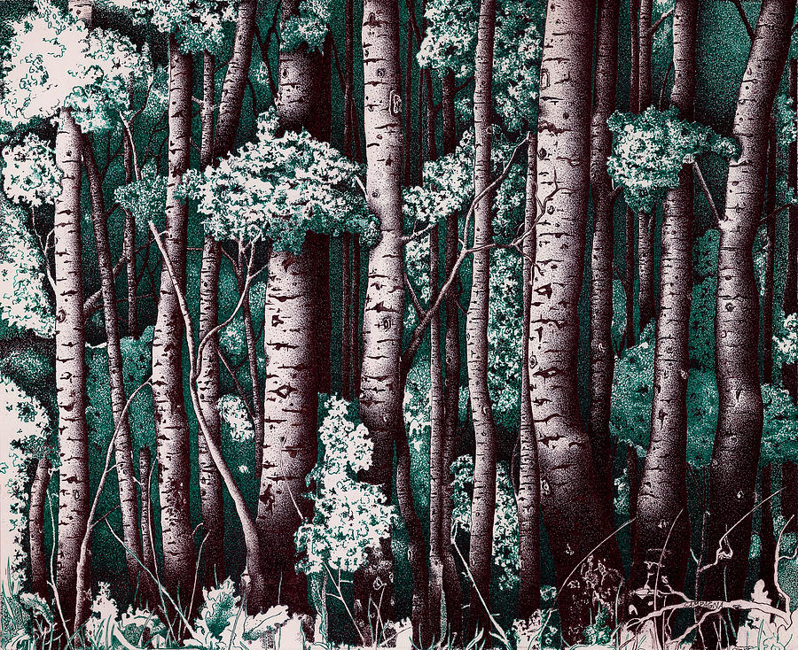 Ink On Bristol Paper. Black Ink Painting - The Grove At Sand Creek by Teddy Campagna
