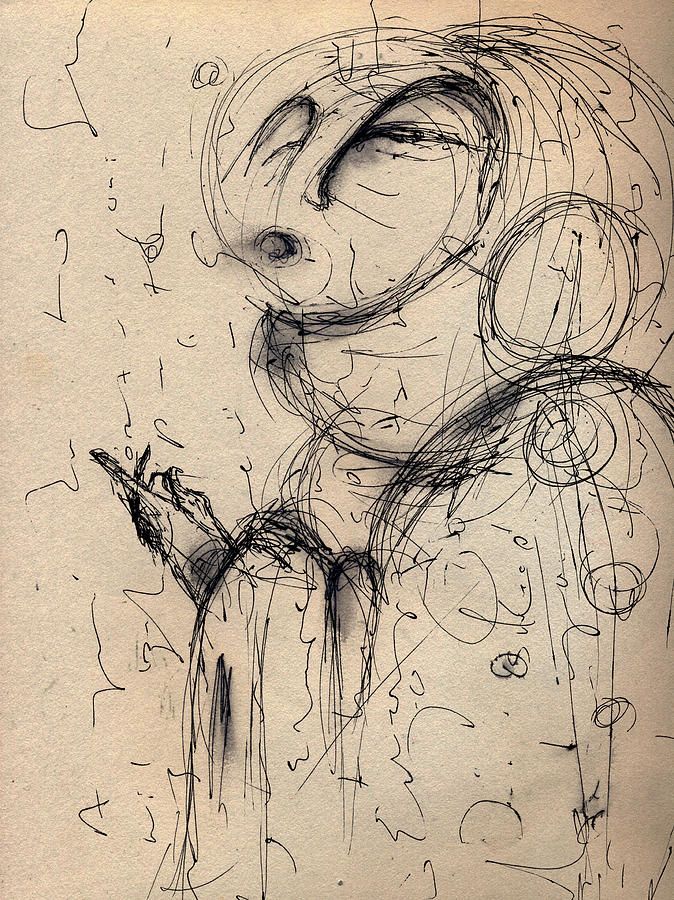 Pen And Ink Drawing - The Guide Study by Mark M  Mellon