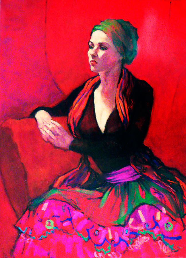 Portraits Painting - The Gypsy Skirt by Roz McQuillan