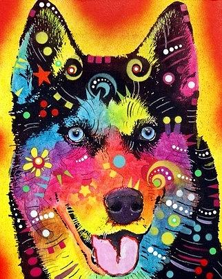 dean Russo Painting Dog Dogs Portrait Graffiti pop Art Pet Pets siberian Husky Husky Huskies Painting - The Happy Husky by Dean Russo