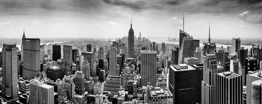 New York City Skyline Bw Photograph