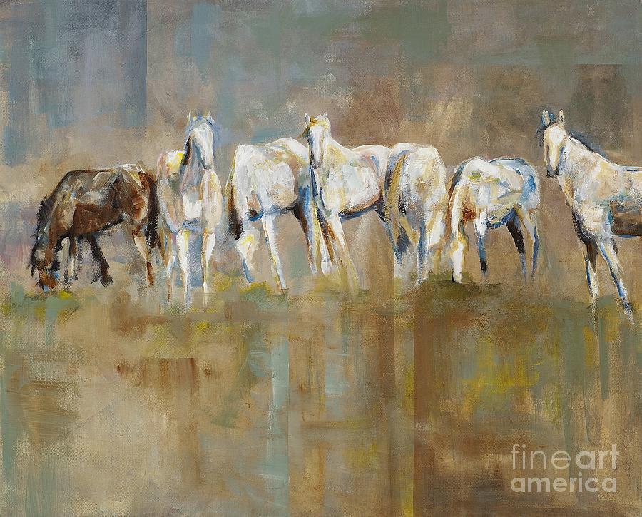Horses Painting - The Horizon Line by Frances Marino
