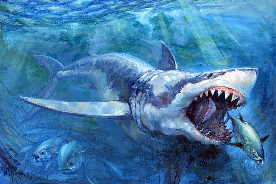 Great White Painting - The Hunt by Tom Dauria