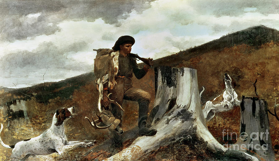 The Hunter And His Dogs Painting - The Hunter And His Dogs by Winslow Homer