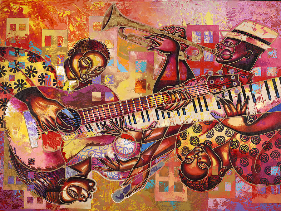 Figurative Painting - The Jazz Dimension  by Larry Poncho Brown