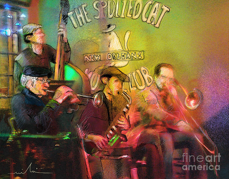 Jazz Painting - The Jazz Vipers In New Orleans 02 by Miki De Goodaboom