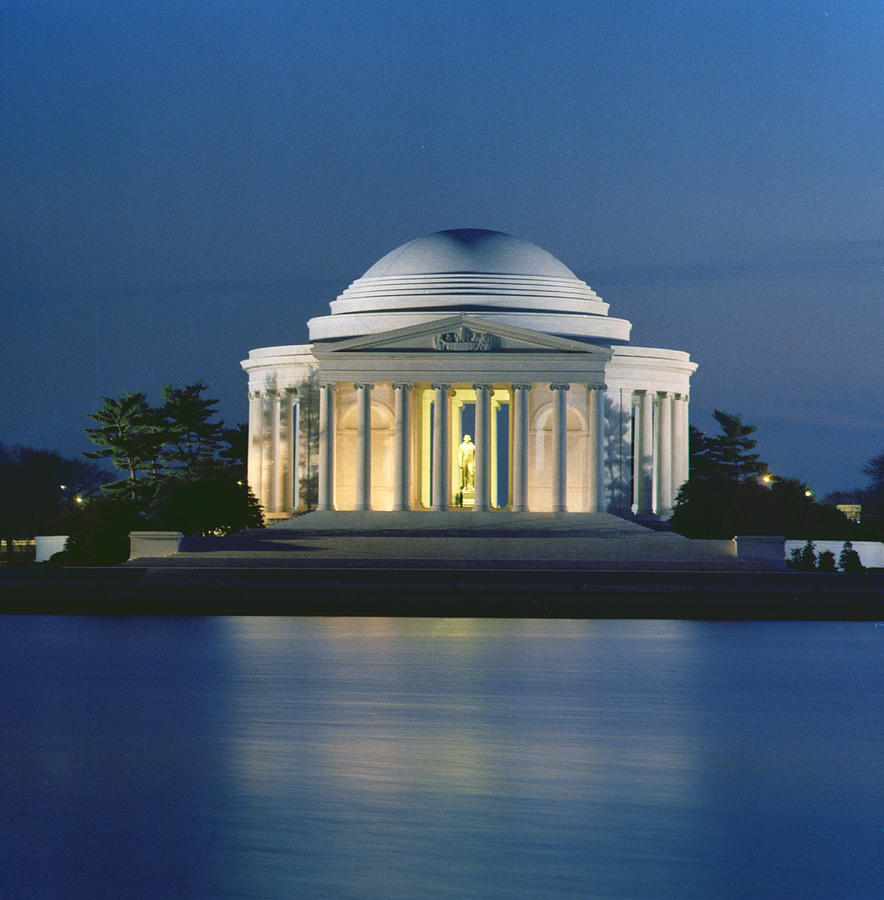 Monument; Saucer Dome; Portico; Columns; Architecture; Architectural; West Potomac Park; Evening; Dusk; Nighttime; Statue; River; Riverbank; Reflection; Nocturne; 3rd; American; Architecture; Neo-classical Photograph - The Jefferson Memorial by Peter Newark American Pictures