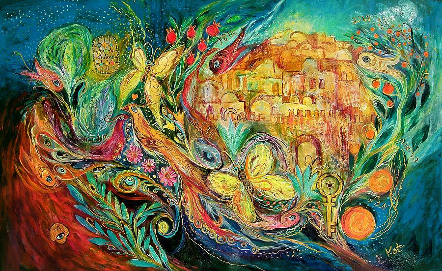 Original Painting - The Jerusalem Key by Elena Kotliarker