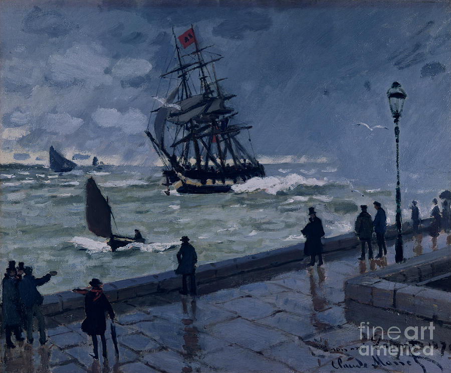 The Jetty At Le Havre In Bad Weather Painting