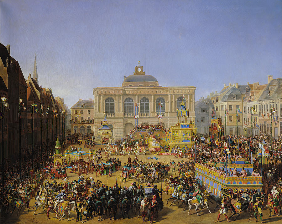 The Painting - The Kermesse At Saint-omer In 1846 by Auguste Jacques Regnier