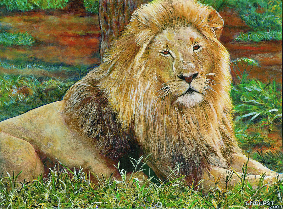 Lion Painting - The King by Michael Durst
