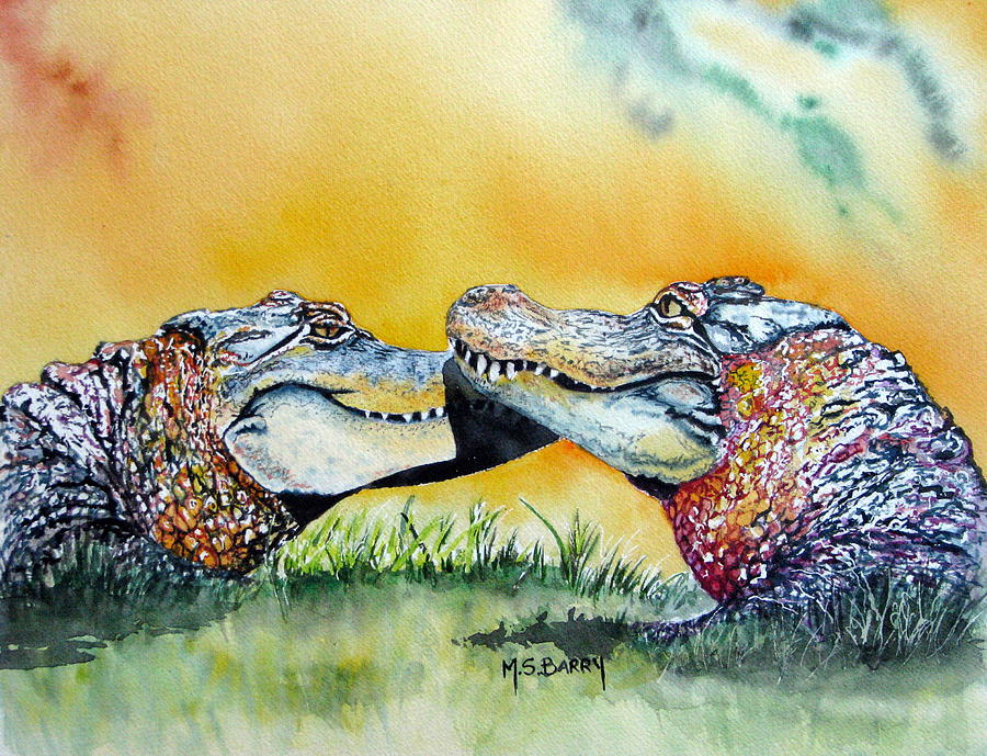 Alligators Painting - The Kiss by Maria Barry