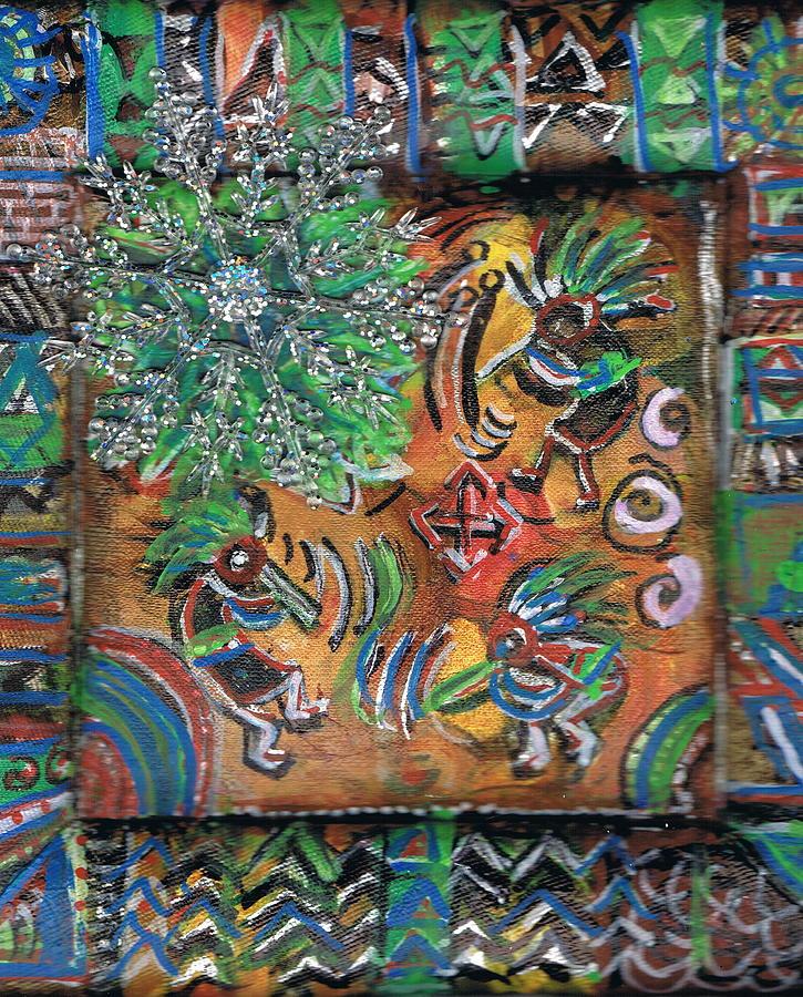 Green Painting - The Kokopelli Greenery by Anne-Elizabeth Whiteway