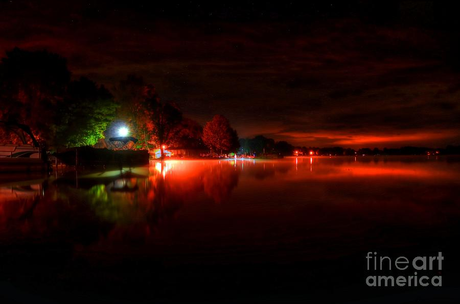 Night Photograph - The Lake At Nightfall by Michael Garyet