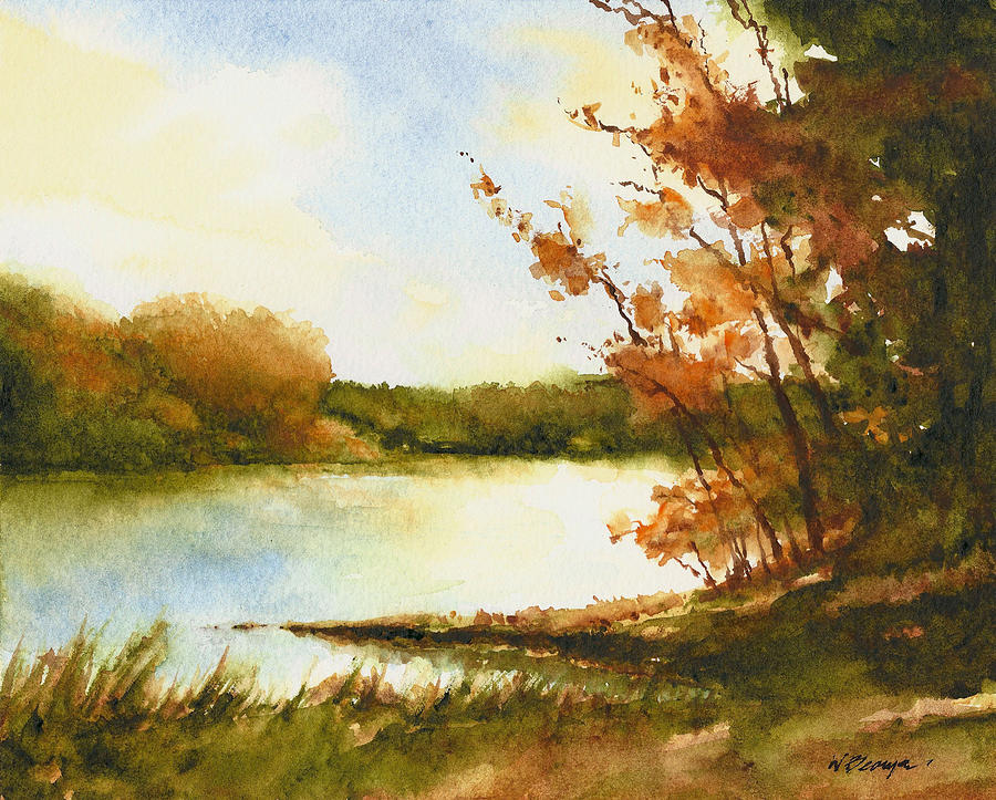 The Lake In Autumn Painting