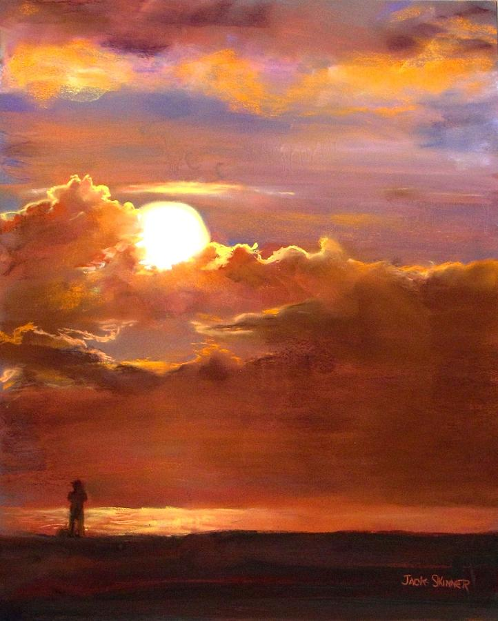 Sunset  Painting - The Last Cast by Jack Skinner