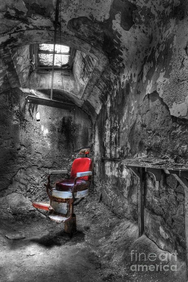 Lee Dos Santos Photograph - The Last Cut- Barber Chair - Eastern State Penitentiary by Lee Dos Santos