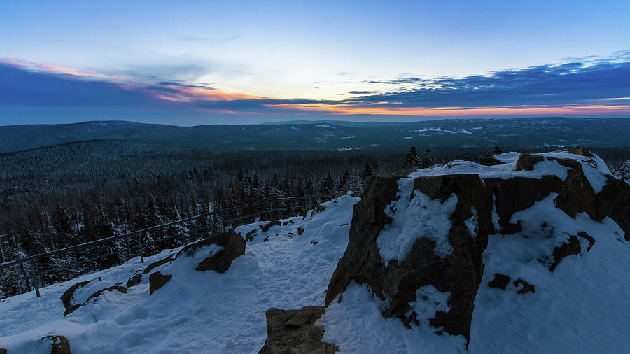 the last light of the day in the Harz mountains Photograph