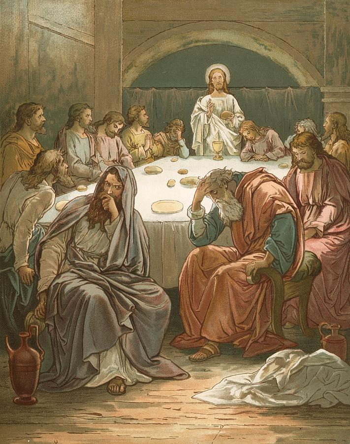 Bible; The Last Supper; Jesus Christ; Judas Isacariot; Breaking Bread; Wine Painting - The Last Supper by John Lawson