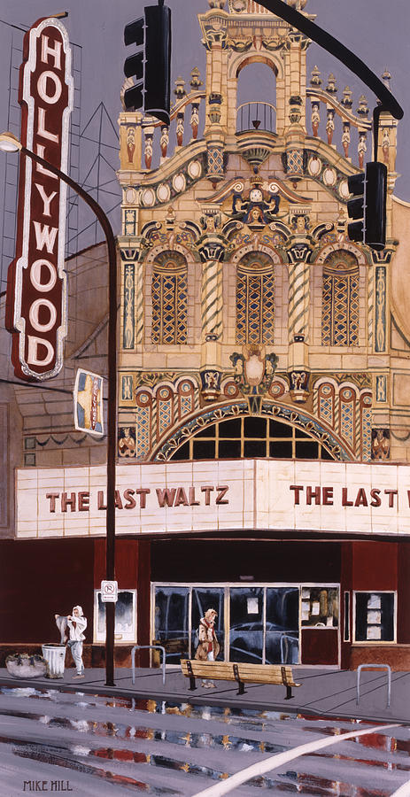 Theatre Theater Hollywood Movies Portland Oregon Deco Spanish Tile Lights Cinema Watercolor   Painting - The Last Waltz by Mike Hill