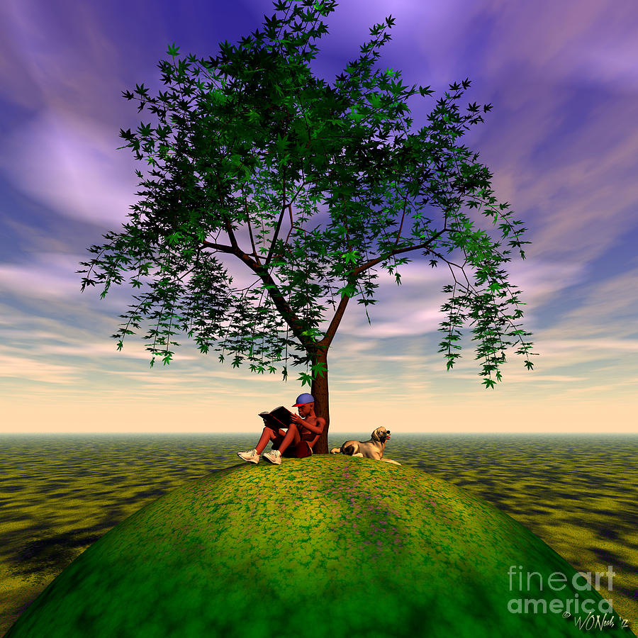 Fantasy Digital Art - The Learning Tree by Walter Oliver Neal