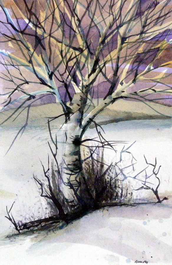 Birch Painting - The Lone Tree by Mindy Newman