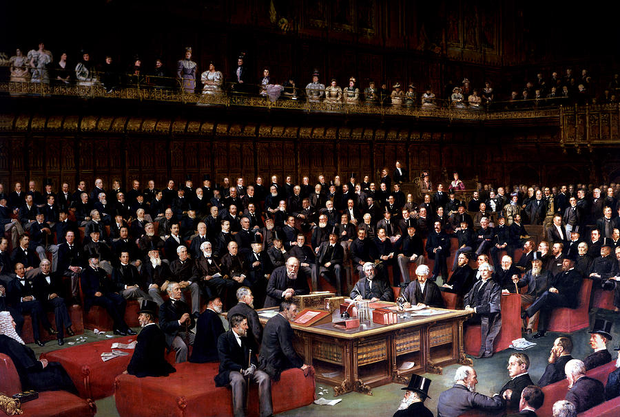 The Painting - The Lord Chancellor About To Put The Question In The Debate About Home Rule In The House Of Lords by English School