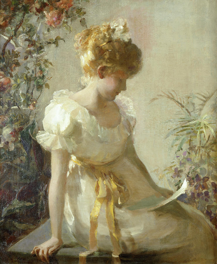 The Love Letter (oil On Canvas) By Jessie Elliot Gorst (fl.1889-99) Painting - The Love Letter by Jessie Elliot Gorst