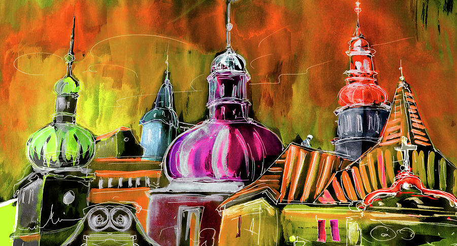 Travel Sketch Painting - The Magical Rooftops Of Prague 01 by Miki De Goodaboom