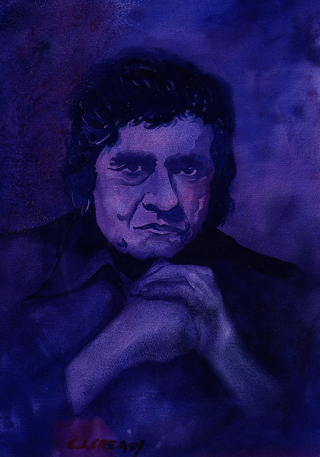 The Man In Black In Blue Painting