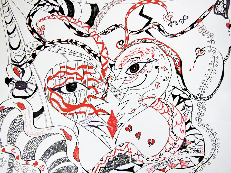 Zen Tangle Drawing - The Many Faces Of Love by Daphne Sampson