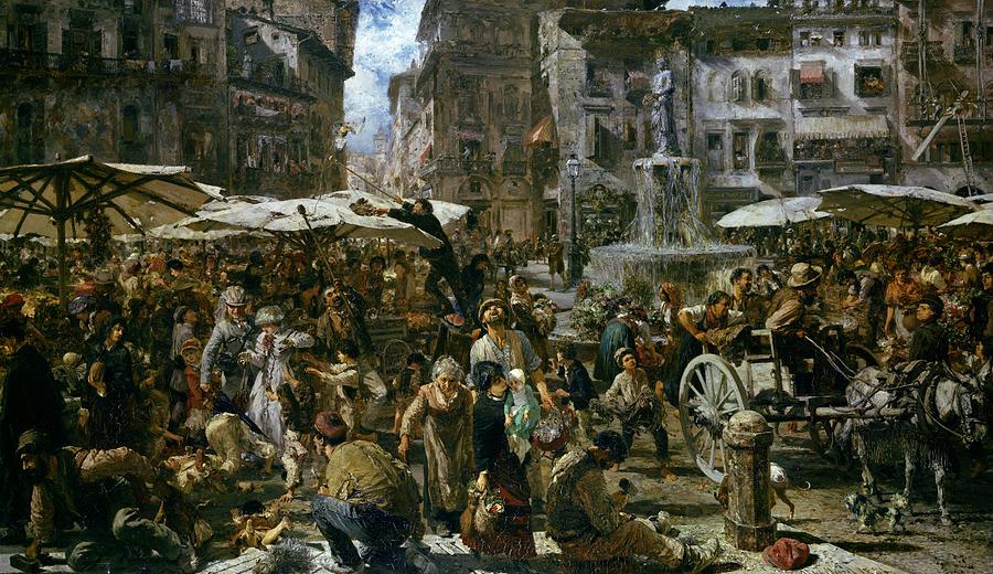 The Painting - The Market Of Verona by Adolph Friedrich Erdmann von Menzel